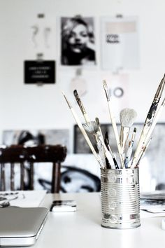 My Favorite Art Studio Inspiration Wand, Workspace Inspiration, Artist Aesthetic, Gray Aesthetic, Paint Brushes, Scandinavian Style, Wall Collage, Art Studios, Office Decor