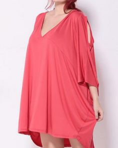 Loose batwing sleeve cold shoulder tops deep v neck for fat women a392fff811ac