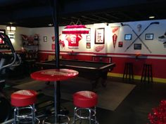Man Cave - Love my Red Wings but my hubby even more!   He so deserved this space!