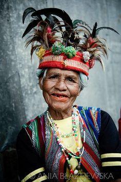 The Philippines, Banaue. Ifugao woman wearing a traditional headdress