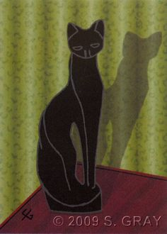 NFAC ACEO Feline Nation Vintage Cat 2 black deco green digital art print nitelvr