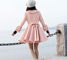 women's Princess style cute bow Fitted Wool  Coat jacket pink. $49.99, by colorstore2011 via Etsy.
