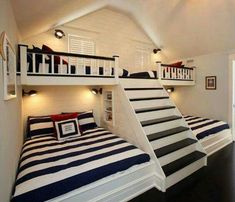can't get enough of this coastal kids room design with bunk beds & steps. - Home Decor - nice can't get enough of this coastal kids room design with bunk beds & steps… by cool-homedeco - Bunk Beds With Stairs, Kids Bunk Beds, Boys Bunk Bed Room Ideas, Bunk Bed Ideas For Small Rooms, Bunk Beds Built In, Cool Bunk Beds, Queen Bunk Beds, Small Beds, Built In Beds For Kids