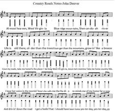 Country Roads Tin Whistle Sheet Music by John Denver. This easy version has the basic letter notes for beginners. Native Flute, Native American Flute, Flute Sheet Music, Sheet Music Notes, Irish Folk Songs, Irish Flute, Harmonica Lessons, Wooden Flute, Song Notes