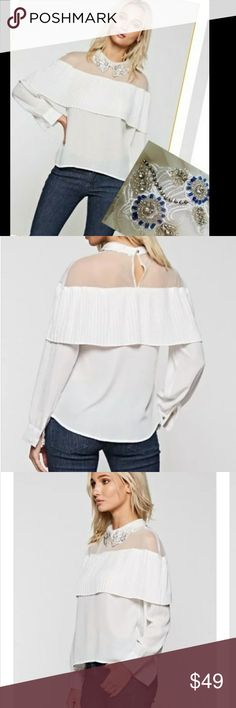 Just Arrived  Beads on Peter pan collar GORGEOUS  BEADING IS STUNNING  Long sleeve top with Sheer neck, pleated flouncy layer and embellished Peter pan collar Tops