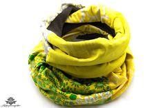 Loopschal gelb grau - ein farbenfrohes Unikat aus der Lieblingsmanufaktur gegen Kälte und für mehr gute Laune an grauen Wintertagen