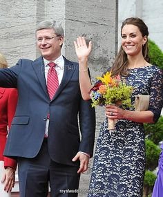 June 30, 2011 - The Duchess of Cambridge with Canadian Prime Minister Stephen Harper outside the official residence of the Governor General of Canada, Rideau Hall in Ottawa, on the first day of her visit to the Commonwealth country.