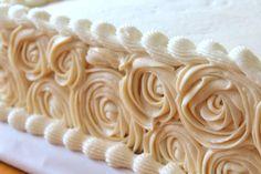 triple-layer half sheet rose cake More