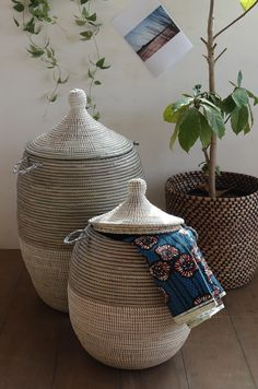 Woven African Laundry Clothes Baskets - Gray - White - Set of 2 hampers - Fair Trade Grey Laundry Basket, Laundry Baskets, Decorative Accessories, Home Accessories, Decorative Baskets, Decorative Items, Clothes Basket, Diy Upcycling, Laundry Room Design