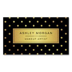 Makeup Artist - Black White Gold Dots Double-Sided Standard Business Cards (Pack Of 100)