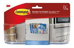 Command Large Caddy, Clear at Personal Gear Products Search - provide organization without wall damaging nails screws tacks or permanent adhesives hold strongly on a variety of surfaces including painted surfaces wood tile metal and more comes off cleanl Command Hooks, Command Strips, Inside Cabinets, Cord Organization, Kitchen Organization, Under Sink, Dorm Decorations, Free, Organizers