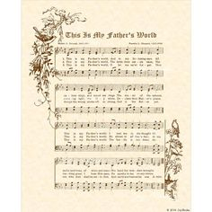 THIS Is My FATHER'S World  8x10 Antique Hymn by VintageVerses, $5.00