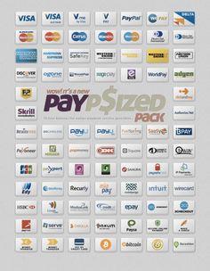 75 иконок платежных систем для интернет-магазина