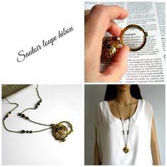 Collier loupe, sautoir bohème chic hibou bronze , doré et noir, cadeau mamie : Collier par color-life-bijoux