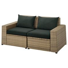 Create a customised sofa with SOLLERÖN modular sections. Use the stool as an extra seat or comfortable extension of your modular sofa. Maintenance-free plastic rattan gives you more time to enjoy. Outdoor Seat Pads, Outdoor Cushion Covers, Outdoor Cushions, Outdoor Sofa, Outdoor Dining Furniture, Decorative Cushions, Bag Storage, Storage Spaces, Keep It Cleaner