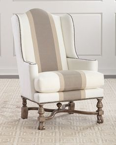 Shop Natural Colorblock Wing Chair from Massoud at Horchow, where you'll find new lower shipping on hundreds of home furnishings and gifts. Living Room Chairs, Living Room Furniture, Living Room Decor, Living Rooms, Furniture Logo, Ikea Furniture, Urban Furniture, Metal Furniture, Luxury Furniture