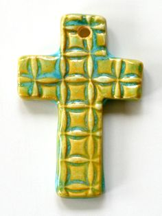 Handmade Artisan Ceramic Cross Pendant in Aqua by WhiteCloverKiln