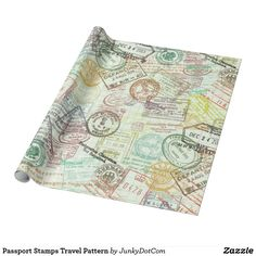Passport Stamps Travel Pattern Wrapping Paper May 1 2017 #spring #junkydotcom