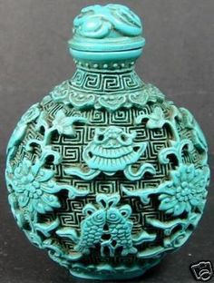 Chinese Turquoise Jade Twins Fish Opium Snuff Bottle