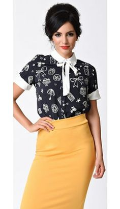 Teach us something titillating dames! - 1940s Style Navy & White Bow Stencil Print Short Sleeve Blouse