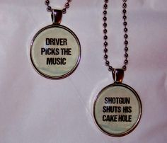 Your favorite demon hunting brothers are close, and so are you and your best friend. Show your supernatural love with this Driver Picks the Music necklace set.  Two 25mm round glass cabochons set in silver tone with matching 18 inch ball chains.  Lead and nickel free.