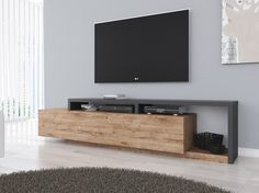 TV unit Bello - Oak - Anthracite - 219 cm - TV furniture - Cabinets and display cabinets - Living room - TV Furniture Living Room Modern, Home Living Room, Living Room Decor, Tv Escondida, Tv Unit Furniture, Tv Unit Decor, Tv Stand Designs, Living Room Tv Unit Designs, Muebles Living