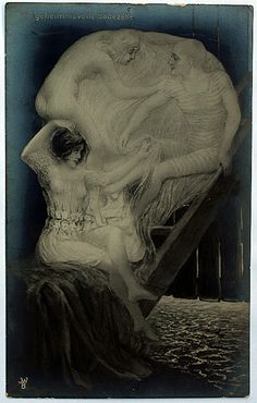 "An antique postcard uses the famous ""All Is Vanity"" theme- is it a beautiful girl, or a skull?"