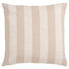 Add a touch of pattern to your favorite chaise or arm chair with this linen-cotton blend pillow, featuring beige and ivory striping.     ...