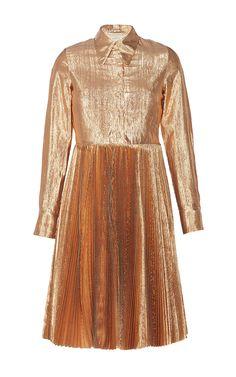 Pleated Lurex Shirt Dress by MANOUSH for Preorder on Moda Operandi