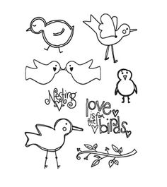 Autumn Leaves - Stampology Clear Stamps Full Sheet - Doodle Birds by Tia Bennett