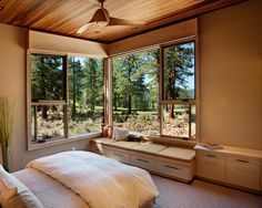 window seat me please. the rest of the house is pretty much my dream home, too. rustic bedroom by Ryan Group Architects. Rustic Bedroom Design, Small Bedroom Designs, Bedroom Small, Rustic Design, Rustic Style, Modern Rustic, Contemporary Bedroom, Modern Bedroom, Earthy Bedroom