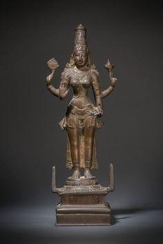A Chola bronze standing figure of the goddess Lakshmi