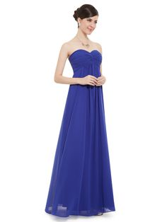 Strapless Elegent Sapphire Blue Ruffled Long Party Dress