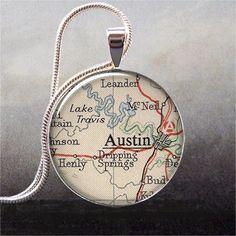 Austin, Texas vintage map pendant charm -- possible ribbon/bookmark idea?