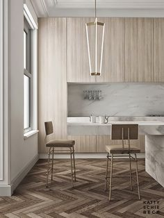 The return of wood cabinetry with modern slab doors showing grain.