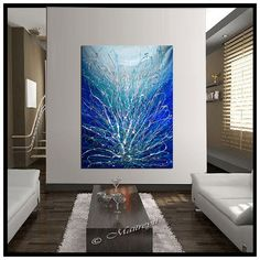 LARGE ABSTRACT PAINTING, Extra Large Wall Art, Abstract Art Home Decor, Original Modern Art Canvas painting by Maitreyii My More paintings available here: http://www.etsy.com/shop/largeartwork !!!!!!!!!!!!!!!!!!!!!!!!!!!!!!!!!!!!!!!!!!!!!!!!!!!!!!!!!!!!!!!!!!!!!!!!!!!!!!!!!!!!!!!!!!!!!!!!!!!!!!!!!!!!!!!!!!!!!!!! ========================================================= TITLE: Blue Sparkle SIZE: 52Tall, 32Wide, 1.5Deep ( Stretched Canvas Ready to hang) =====================================...