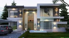 This Inspirational Contemporary Double Storey House with Plan is situated on a manageable corner block of and has a total built up area of including garage, portico and alfresco. Facade Design, Exterior Design, Architecture Design, Modern Brick House, Architectural Lighting Design, Modern Villa Design, House Front Design, Contemporary House Plans, Minimalist House Design