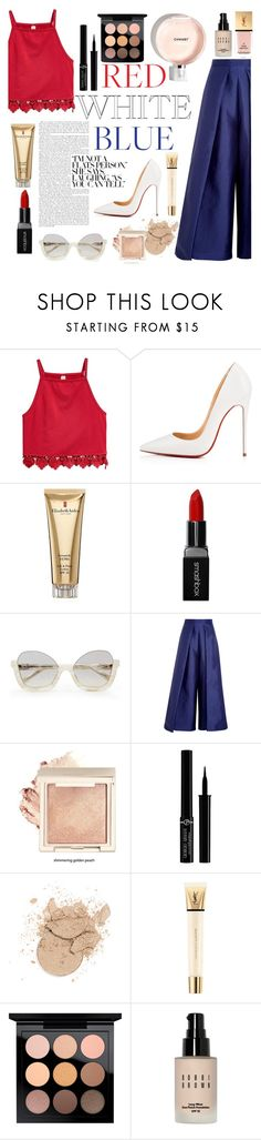 """July 4th, Red, White and Blue"" by sade-allan ❤ liked on Polyvore featuring Christian Louboutin, Elizabeth Arden, Smashbox, Solace, Giorgio Armani, Yves Saint Laurent, MAC Cosmetics, Bobbi Brown Cosmetics, cute and chic"