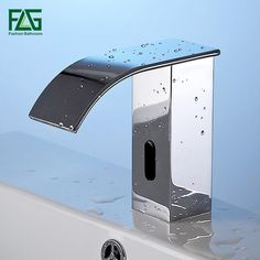 FLG AC/DC Battery Power Water Saving Cold Automatic Hands Touch Free Sensor Faucet Waterfall Bathroom Sink Tap Basin Faucet T20 - ICON2 Luxury Designer Fixures  FLG #AC/DC #Battery #Power #Water #Saving #Cold #Automatic #Hands #Touch #Free #Sensor #Faucet #Waterfall #Bathroom #Sink #Tap #Basin #Faucet #T20