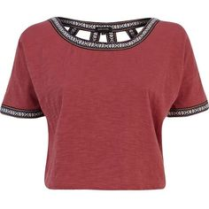 ce8cfa4d79 River Island Red cut out back western crop top ( 11) ❤ liked on Polyvore