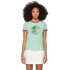 Marc Jacobs Green The Ringer T-shirt In 301 Green Green Photo, Collar And Cuff, World Of Fashion, Rib Knit, Luxury Branding, Marc Jacobs, Your Style, Crew Neck, Knitting