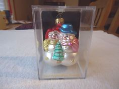 Vintage Hand Crafted Glass Ornament Of Snowman / Woman