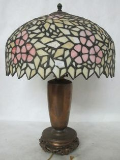 GORGEOUS C. 1910 HANDEL LEADED GLASS LAMP WITH CHINESE BASE | eBay