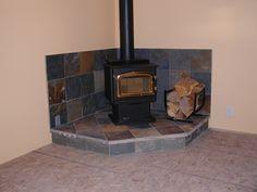 Home Design : Corner Wood Stove Ideas Few Elements Like . Basement Fireplace, Fireplace Redo, Fireplace Ideas, Wood Stove Hearth, Wood Burner, Living Room Remodel, Home Living Room, Wood Burning Stove Corner, Wood Pellet Stoves