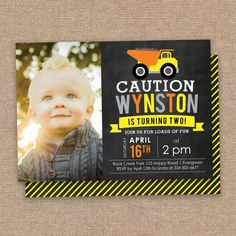 Items Similar To Caution 2nd Birthday Invitation Photo Construction Theme Dump Truck DIY Printable On Etsy 2 Year Old