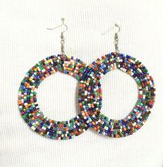 beaded earrings round earrings long earrings by ThriftyUpenyu