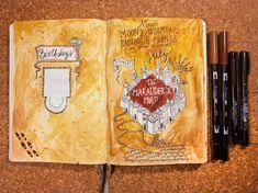Part 65 Spellbinding Harry Potter spreads! Bullet Journal Ideas Pages, Bullet Journal Inspiration, Book Journal, Bullet Journals, Art Journals, Harry Potter Journal, Calendar Journal, Pretty Notes, Wreck This Journal