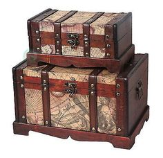 Old World Map Wooden Trunk, Set of 2