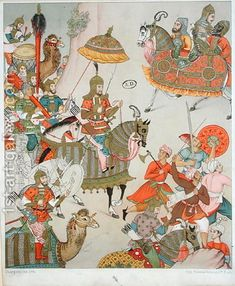Charpentier:Emperor Babur at the head of his army, after a sixteenth century Mughal miniature Mughal Miniature Paintings, Mughal Paintings, Islamic Paintings, Empire Moghol, Art Asiatique, Mughal Empire, India Art, Stock Image, Oil Painting Reproductions