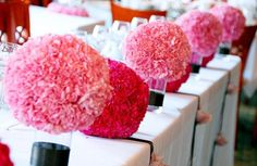 Carnation centerpieces! Who knew carnations could look so expensive?